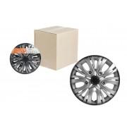 Колпаки колесные 14 дюймов Лион +, серебристо-черный, карбон
