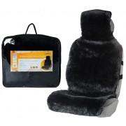 Накидка на переднее сиденье (натуральный мех, короткий ворс, чёрная)